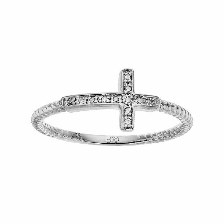 Sterling Silver Diamond Accent Sideways Cross Ring, Women's, Size: