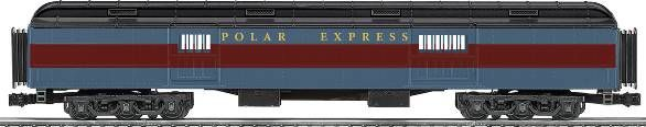"Standard O heavyweight passenger cars in the official Polar Express paint scheme: Polar Express Baggage Car!  Features •Die-cast metal sprung trucks and operating •couplers •Hidden uncoupling tabs •Flexible diaphragms between cars •Opening doors •Authentic Polar Express decoration and details •Overhead interior lighting with On/Off switch •Super-detailed with many separately-applied parts •Detailed interior floor plan Gauge: Standard O Dimensions: Length: 19"" Minimum Curve: O-54"