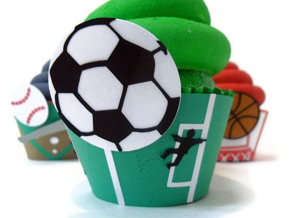 Soccer Cupcake Wrappers  Set of 12 by cakeadoodledoo on Etsy