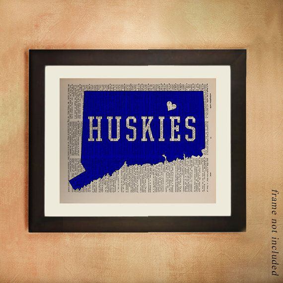 UConn Huskies Dictionary Art Print University Connecticut Storrs Ct Blue White Vintage Paper Football College Wall Art Dorm Decor da134 on Etsy, $8.99