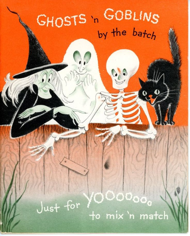 Vintage Norcross Halloween Greeting Card Ghost Witch Skeleton Black Cat 1956