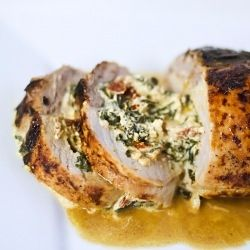 Pork tenderloin stuffed with spinach, sun-dried tomatoes, and a creamy goat cheese filling.: Sun Dried Tomatoes, Sun Dry Tomatoes, Pork Tenderloins, Tenderloins Stuffed, Cheese Fillings, Goats Cheese, Stuffed Pork, Goat Cheese, Creamy Goats