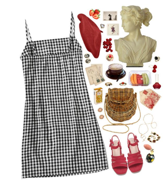 """parisian gingham"" by pixiekeen ❤ liked on Polyvore featuring CO, Avenida Home, Paul & Joe, Yves Saint Laurent, Retrò, 1928 and Pamela Love"
