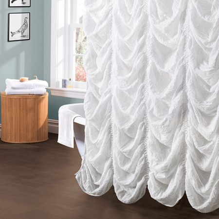 Showcasing An Eye Catching Ruched Design, This Elegant White Shower Curtain  Adds A Touch