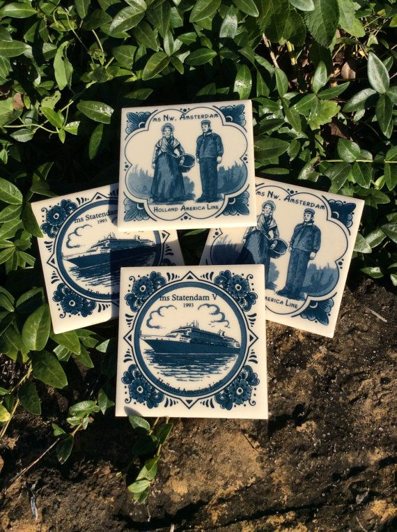 "Vintage Coasters ""Holland American Line"" Ceramic Blue & White, set of Four, Coastal Decor, Home Decor"