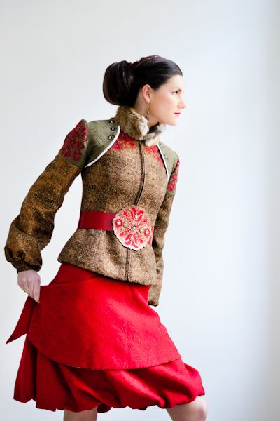 """As a fashion designer I use the features and diversity of the Hungarian folklore's distinct landscapes the same way I use my mother tongue. My couture, ready-to-wear clothes are designed to be variable pieces for today's modern woman."""" designer: Meyke photo: Júlia Pallai-Göllner"""