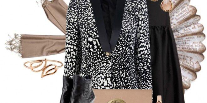 Siyah ve Beyaz - Blazer Ceket ve Etek ile Tesettür Kombin - Tesettür Giyim Odam