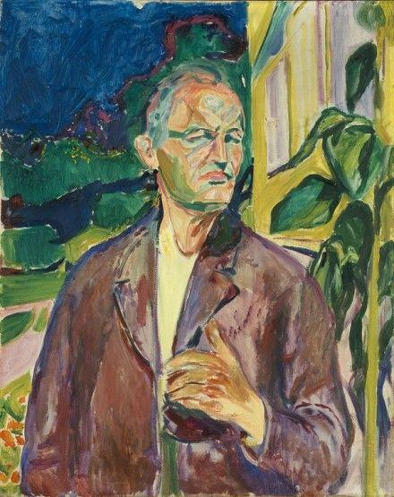 Edvard Munch - Έντβαρτ Μουνκ Αυτοπροσωπογραφία μπροστά στον τοίχο του σπιτιού (1926)