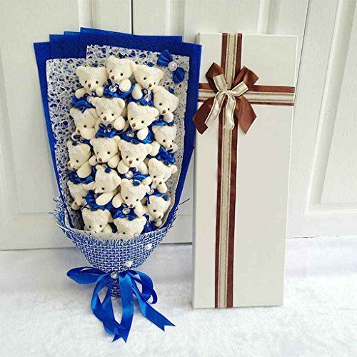 Flyme® Teddy Bear Bouquet Gift Box ,18 Bear Cartoon Bouquet (Royal blue) The little kid in me would freak if someone did this!!!! You have no idea!! Teddy bears??? Really!!!