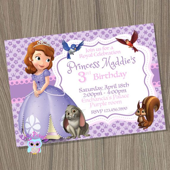 Sofia the first invitation Princess Sofia Invitation by CutePixels