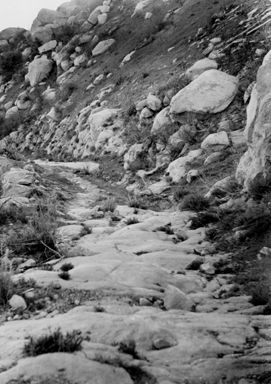 Old stage coach road in Chatsworth shows the rough terrain over which the stage lines traveled. The road dates from the 1860's and represents a period in the Valley when the trail linked Los Angeles, Encino, Simi Valley, and Ventura. It was declared an historic-cultural monument on January 5, 1972. San Fernando Valley History Digital Library.