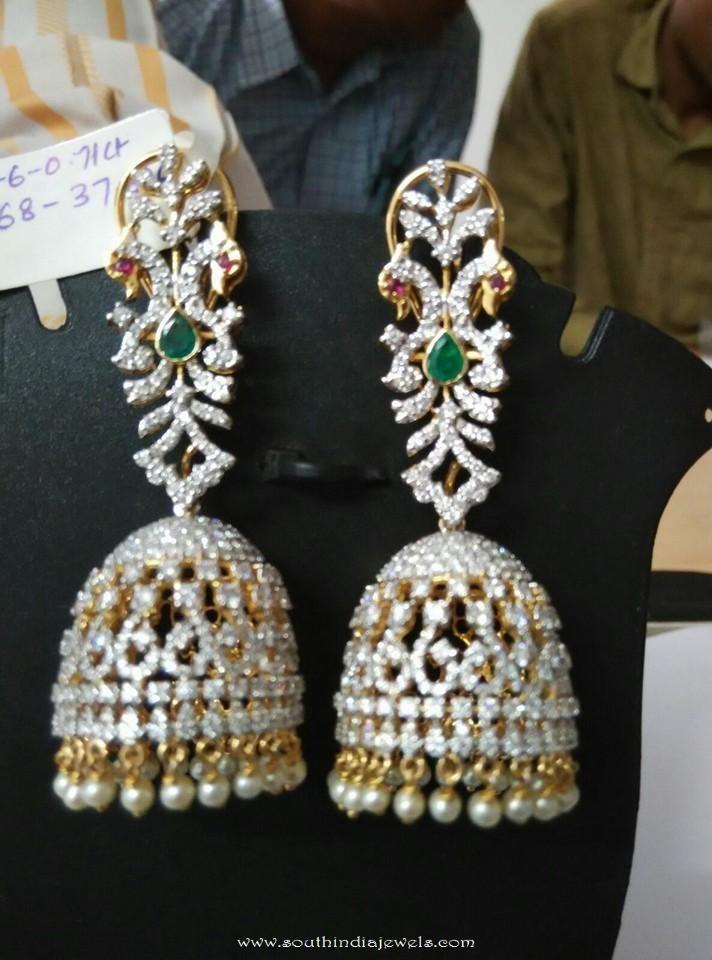 Diamond Emerald Jhumka from Ishwarya Diamonds
