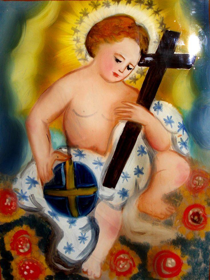 Gesù bambino salvatore del mondo  Pittura su Vetro CM 40X30