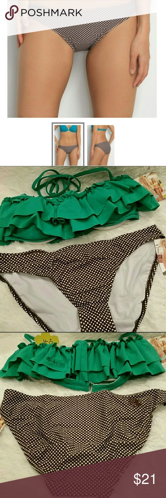 Hapari Regular Bikini Brief Bottoms sz Large Simple, no slip cut promises comfort and style. 80%nylon 20% spandex. Size large (12-14). UPF-50+ Machine or hand wash. MSRP $35. Bundle with the top and side tie bottoms so you can mix and match! Pet friendly home. This listing is for the brown and white polka dot bikini bottoms. Hapari Swim Bikinis
