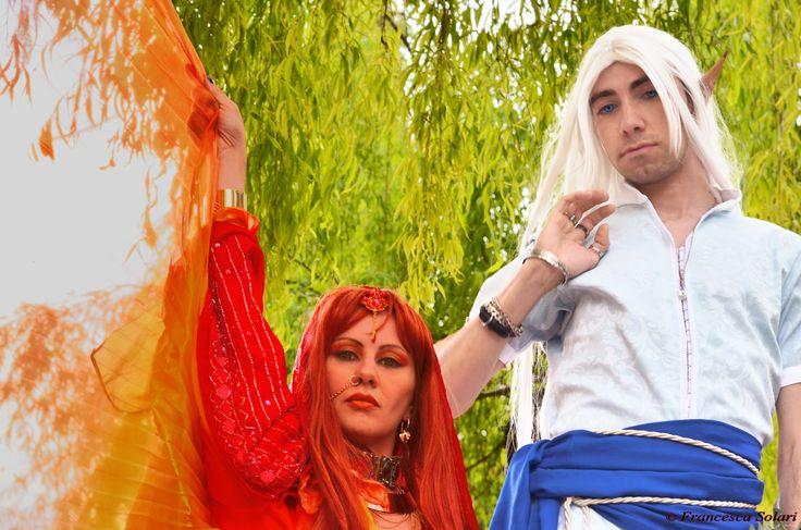 Kerfat'fuer and Nare from Leodhrae www.aurorafilippi.com Photo by: Francesca Solari https://www.facebook.com/Francesca-Solari-Photography-454269394624161/ Location: Parco Giardino Sigurtà (Italy) #leodhrae #fantasy #costume #cosplay #book #novel #god #gods #goddess #fire #air