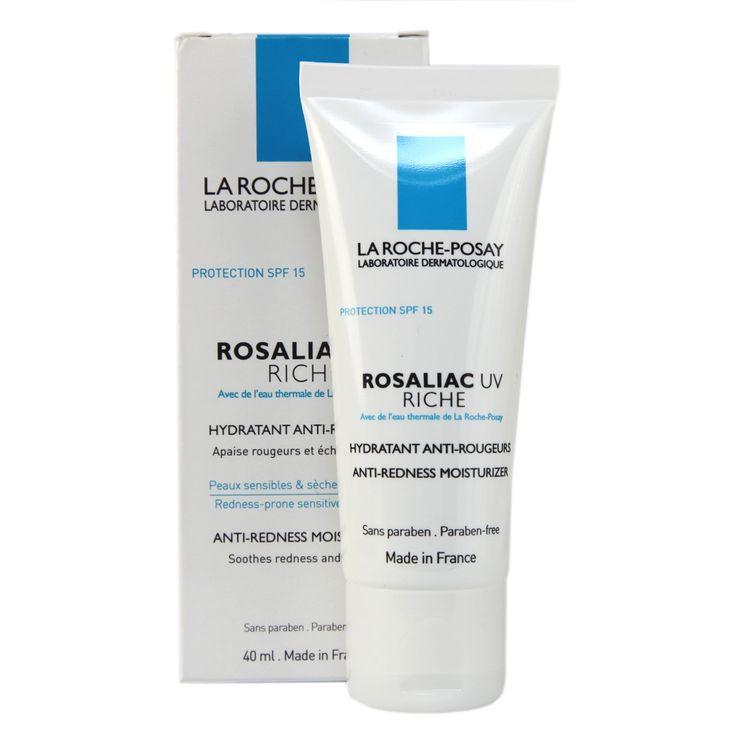 LA ROCHE POSAY, ROSALIAC UV RICHE, Cena: 70 zł / 40 ml Wzmacniający redukujący zaczerwienienie preparat nawilżający SPF 15. Potrójna ochrona, aby wzmocnić skórę i zwalczyć codziennie zaczerwienienie: - Witamina CG, aby wzmocnić kruche ścianki naczyń. - Witamina B3, aby wzmocnić skórę i zabezpieczyć przed zewnętrznymi czynnikami drażniącymi i zmianami klimatu. - Filtr Mexoryl XL aby ochronić skórę przed promieniowaniem UV, które pogłębia zaczerwienienie.