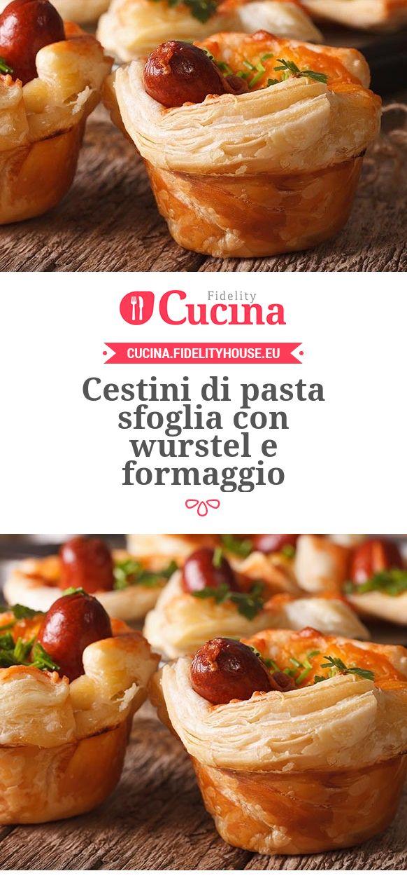 Cestini di pasta sfoglia con #wurstel e #formaggio