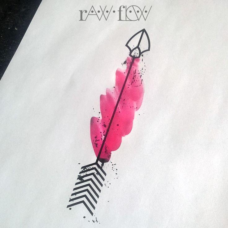 Arrow tatto watercolor forearm thigh rib  for girls