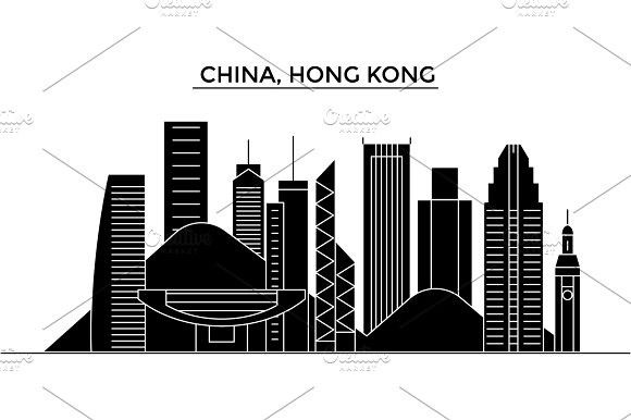 China Hong Kong Architecture Vector City Skyline Travel Cityscape With Landmarks Buildings Isolated Sights On Hong Kong Architecture City Skyline Cityscape