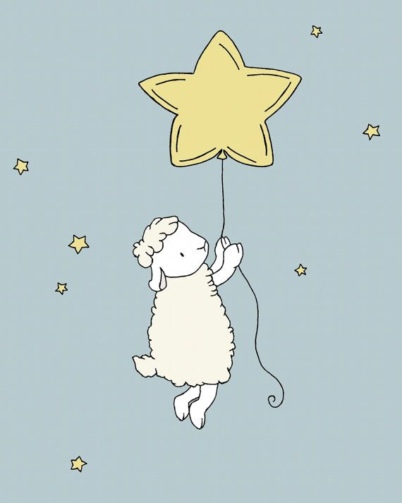 Lamb Nursery Art -- Lamb Star Balloon -- Nursery Decor -- Lamb Art Print -- Sheep Nursery Art, Children Art Print, Kids Wall Art by Sweet Melody Designs