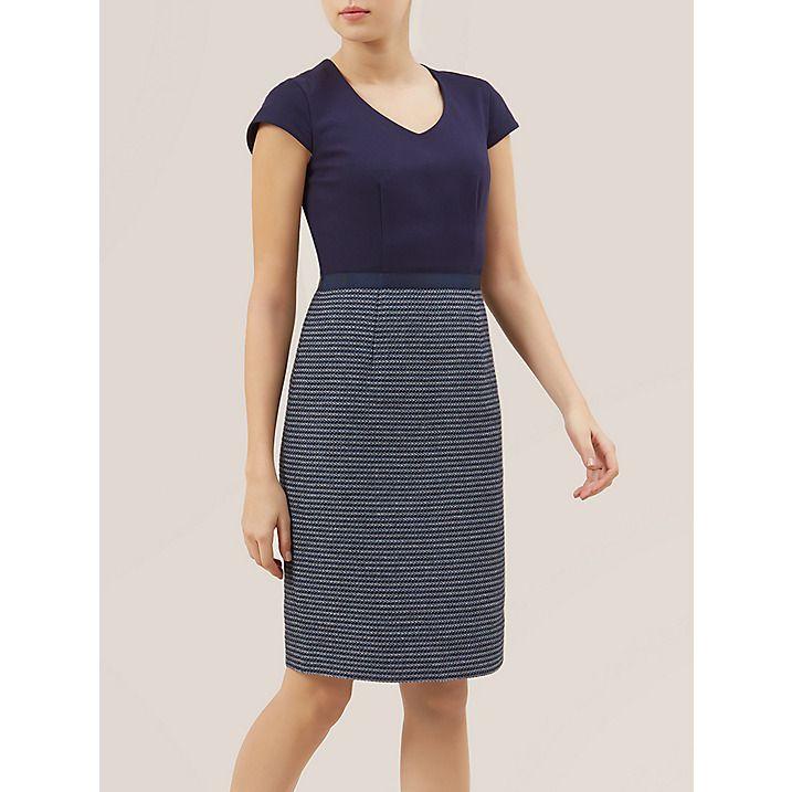 Buy Hobbs Saffie Dress, Navy Sky Blue, 8 Online at johnlewis.com