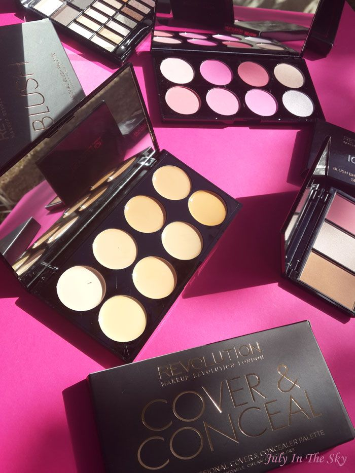 July In The Sky : beauty blog beauté Haul Makeup Revolution foundation and concealer brush ultra cover and conceal palette blush palette iconic blush bronze and brighten you're gorgeous palette