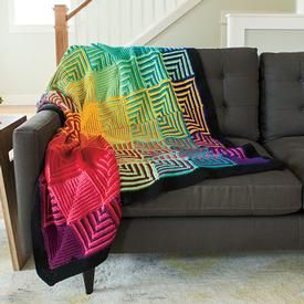Eleven Colors Blend in the Free Hue Shift Crochet Afghan Pattern