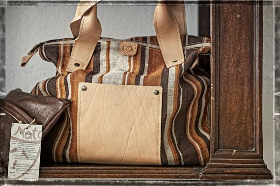 Overnight Duffle Bag / WEEKEND BAG in linen and vegetable tanned leather / Travel Bag / Bags and Purses / Woman Duffle Bag / Gift for her