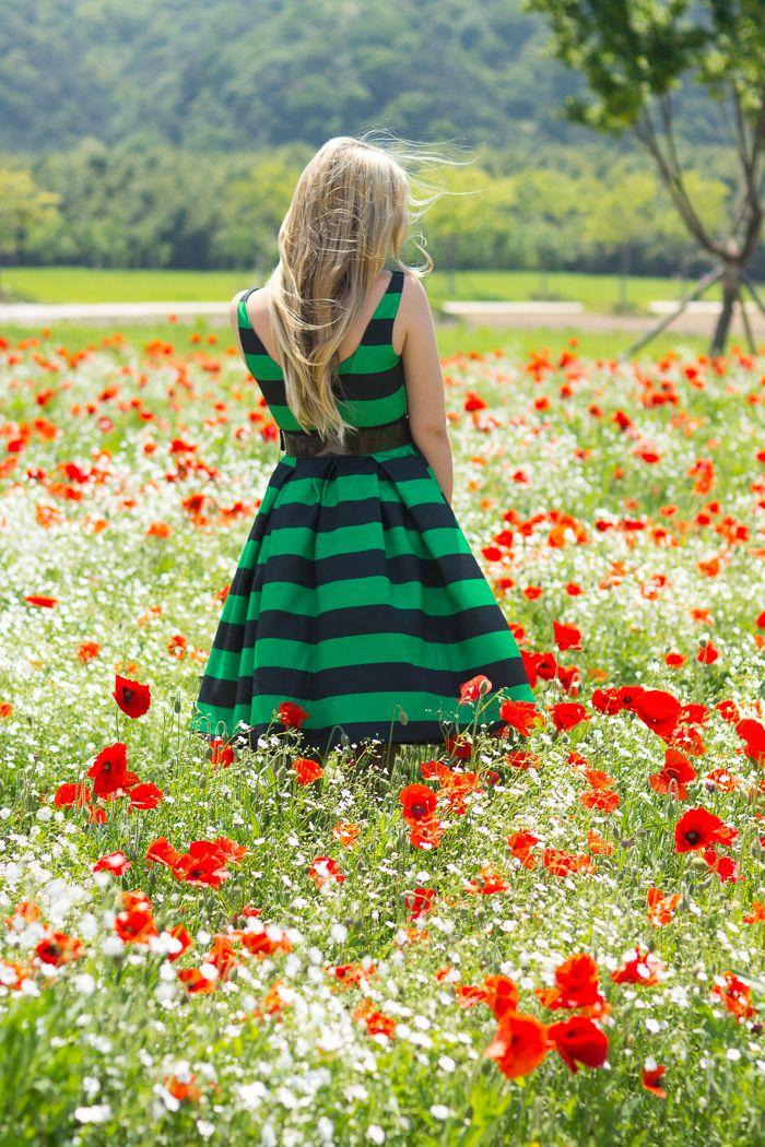 My Blonde Gal: Poppy fields: Stripe dress