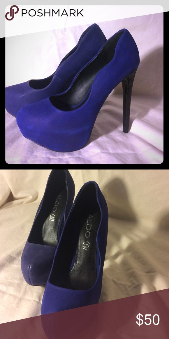 Brand new Royal Blue Aldo heels Royal blue, leather Aldo heels. Unique shape, never worn. Great condition. Aldo Shoes Heels