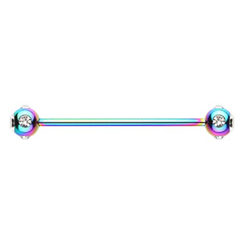 Rainbow Gem Ball Industrial Barbell 14ga Surgical Stainless Body Jewelry