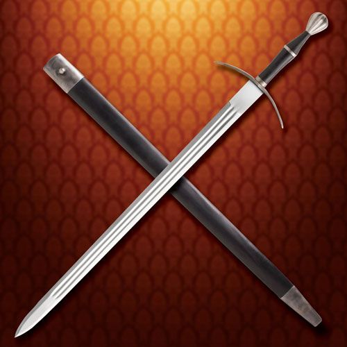 15th Century Bastard Swords for sale are 44 ¾ inches in all and weigh 3 pounds 10 ounces. This functional Bastard Sword is inspired by real medieval swords that were popular in the 15th century.