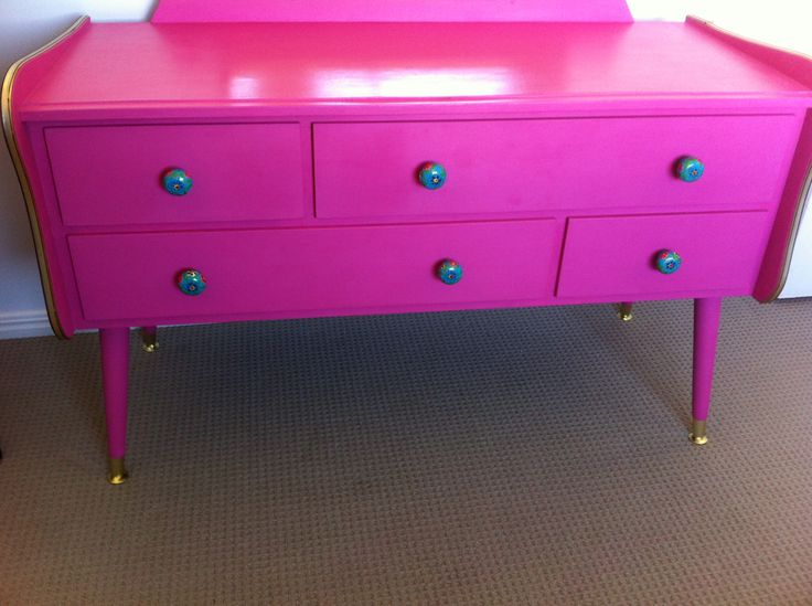 70's laminated dresser.  Chalk paint and new knobs.