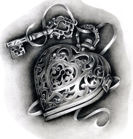 Heart locket tattoo design by Hannah Catherine Falvey                                                                                                                                                                                 More