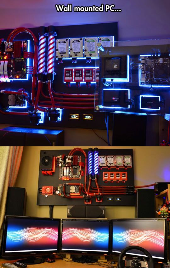 This is just awesome, wall mounted PC, what a great rig and idea!  #custompc