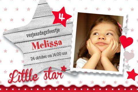 Uitnodiging Little star meisje-sterren-hout