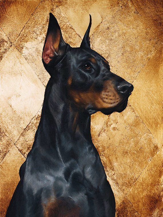 Custom Oil On Gold Pet Doberman Portrait Luxurious High Quality