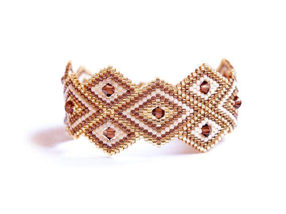 SALE - Rhombus Geometric Peyote Bracelet, High Fashion Peyote Bracelet, Swarovski Crystal, Handwoven, Modern, Mother's Day gift idea on Etsy, $60.00