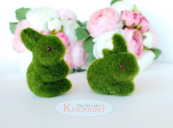 5 Easter Bunny Figures Moss Bunny Easter Table by Kurabiiki, $28.00