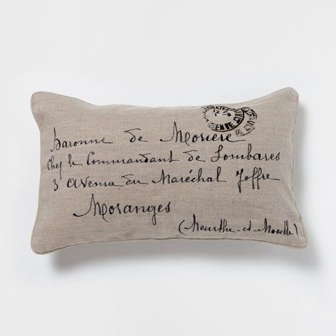 Embroidered Letters Linen Cushion - Cushions - Decoration | Zara Home Hong Kong