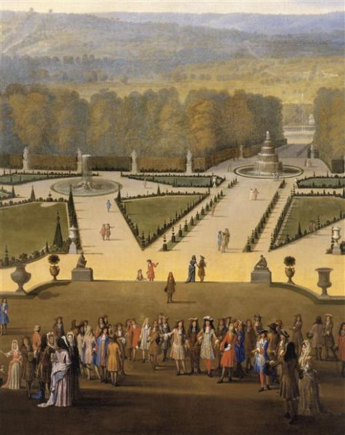 Louis XIV and his Court on a Promenade in the Gardens of Versailles by Etienne Allegrain,c. 1688: