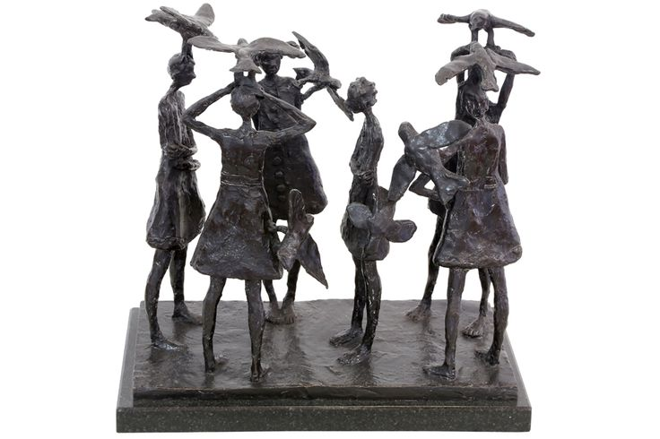 An Original #Sculpture by #GraceDaCosta entitled: Birds of a Feather, #bronze, ed of 10, h 28cm, w 30.5cm #SouthAfricanArtist #Birds #Feather For more please visit www.finearts.co.za