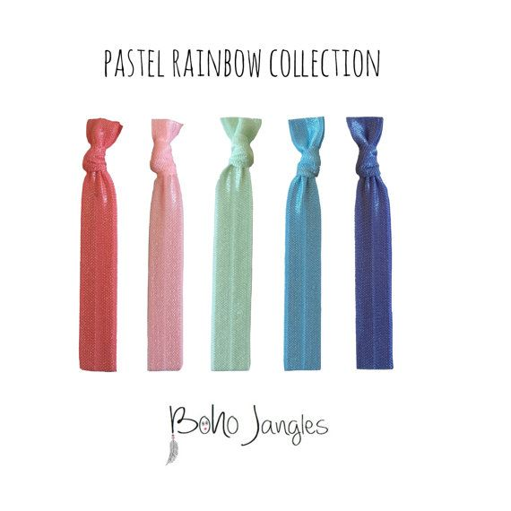 Pastel Rainbow Hair Ties Spring Colours Ponytail by BohoJangles