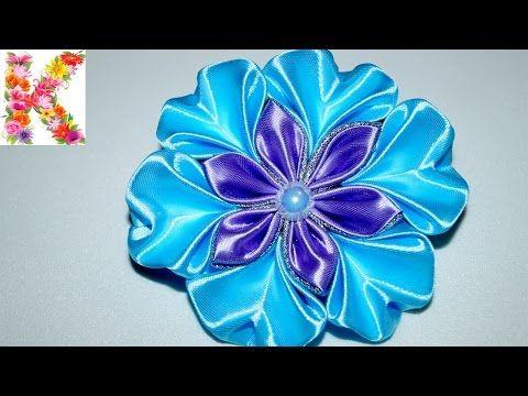 канзаши для начинающих,мастер класс,DIY kanzashi tutorial flower - YouTube