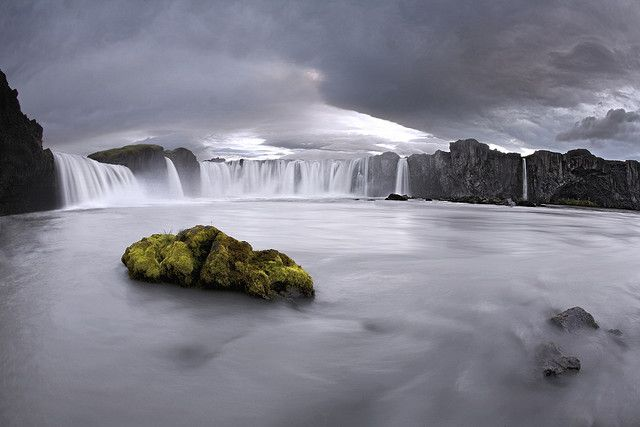 [The name of this waterfall comes from a legend according to which,] in the year 999 or 1000 the Lawspeaker Þorgeir Ljósvetningagoði made Christianity the official religion of Iceland. After his conversion it is said that upon returning from the Alþingi, Þorgeir threw his statues of the Norse gods into the waterfall. Þorgeir's story is preserved in Ari Þorgilsson's Íslendingabók. (From Wikipedia.org)