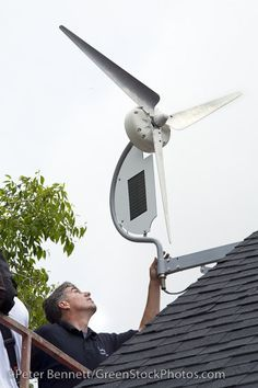 "Installation of a residential wind turbine is filmed for an episode of the DIY network show ""This New House"". Bob Hayes of Prevailing Winds and his crew install a Dyocore SolAir 800 I wind turbine which integrates two small solar panels into its desi that´s why we start to use others options besides Petroleum   We Need Wind power and Solar power"