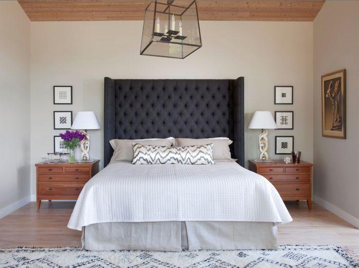 dark gray grey upholstered headboard tufted linen neutral bed bedroom natural wood 2016 long lumbar pillow body pillow