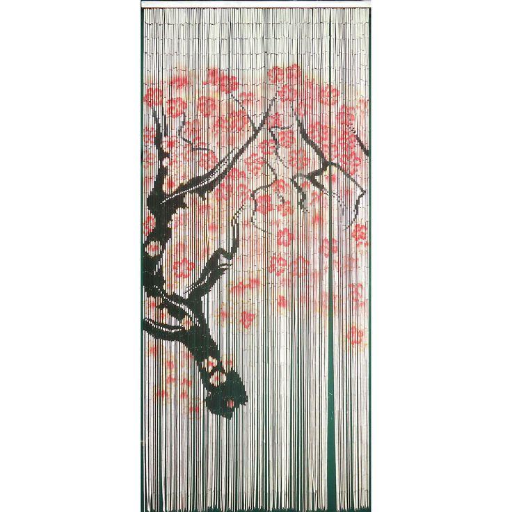 Bamboo54 Cherry Blossom 125-strand Curtain (Vietnam) (Cherry Blossom curtain 125 strands), Red, Size 78 Inches (Nature)