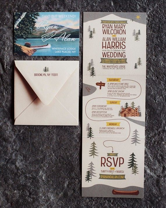 The couple's stationery suite, designed entirely by the groom, used muted greens, browns, and mustard yellow to play off the wedding location's woodsy surroundings. The invitation itself was designed to resemble a trail map, with a tri-fold layout that led guests through the various events of the weekend.