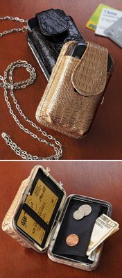 "Cory Flat Wallet with Cell Phone Holder - When you're traveling light, this little case carries all your essentials. Has space for ID and credit cards, a coin pouch, cell phone holder plus a 48"" chain that turns it into a purse. Polyurethane. 4 1/2""L x 3""W x 2 1/4""H. Available in Black or Taupe. - See more at: http://www.collectionsetc.com/Product/cory-flat-wallet-with-cell-phone-holder.aspx/_/N-3axb#sthash.1JRVvyVy.dpuf"